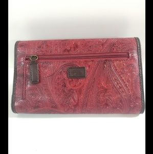 Red Embossed Relic Wallet